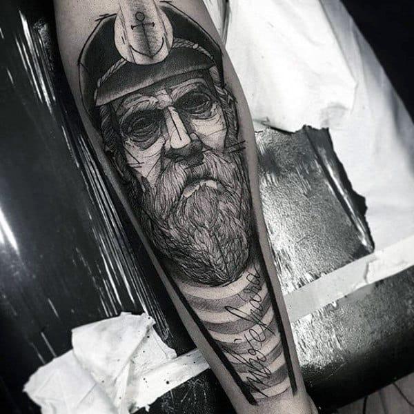 Detailed Insane Mens Sailor Tattoo On Leg