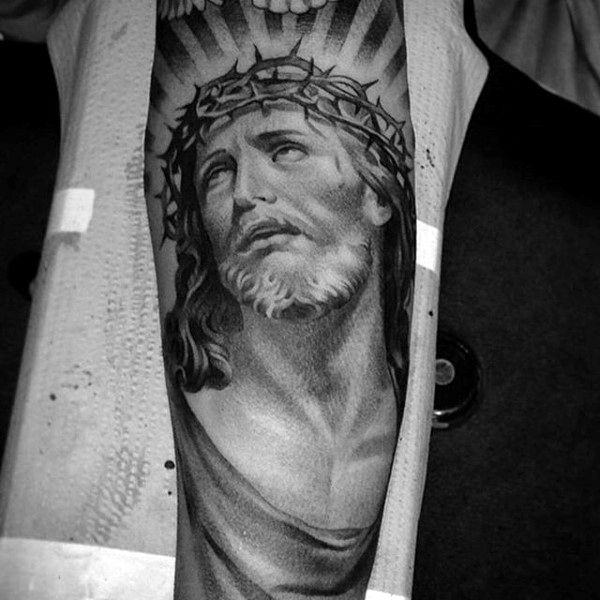 Detailed Jesus Face Portrait Male Forearm Tattoos