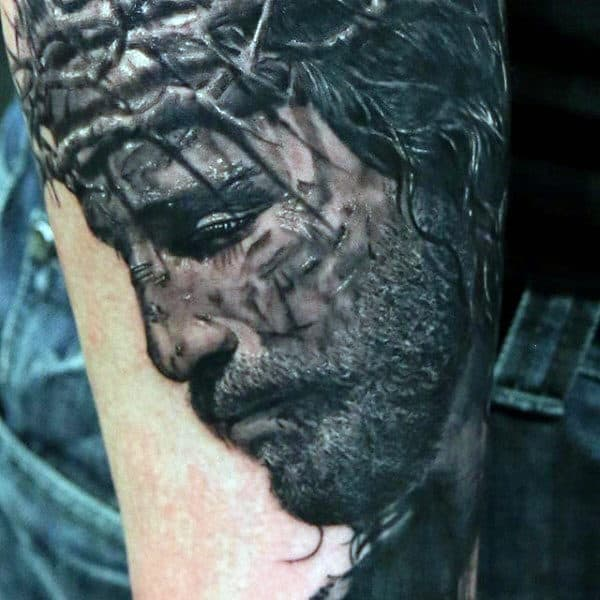 Detailed Jesus Portrait On Mans Arm
