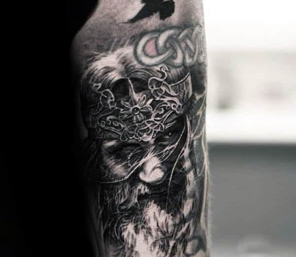 Detailed Male Arm Tattoo Of Odin