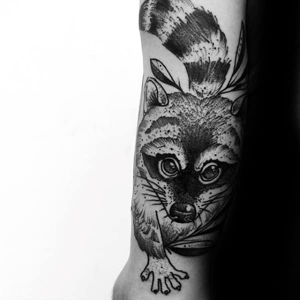 Detailed Male Black Ink Raccoon Lower Leg Tattoos