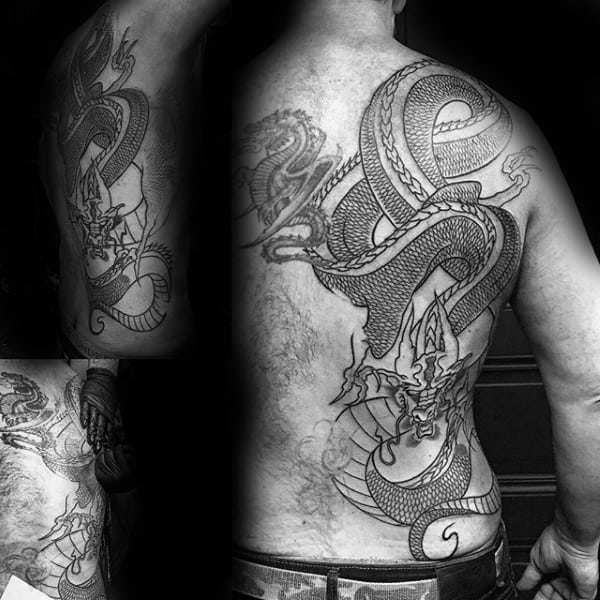 Detailed Male Chinese Dragon Back Tattoo