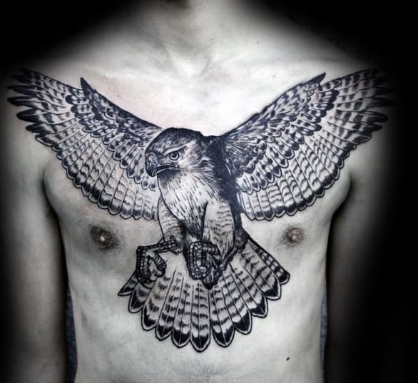 Detailed Male Eagle Chest Tattoos