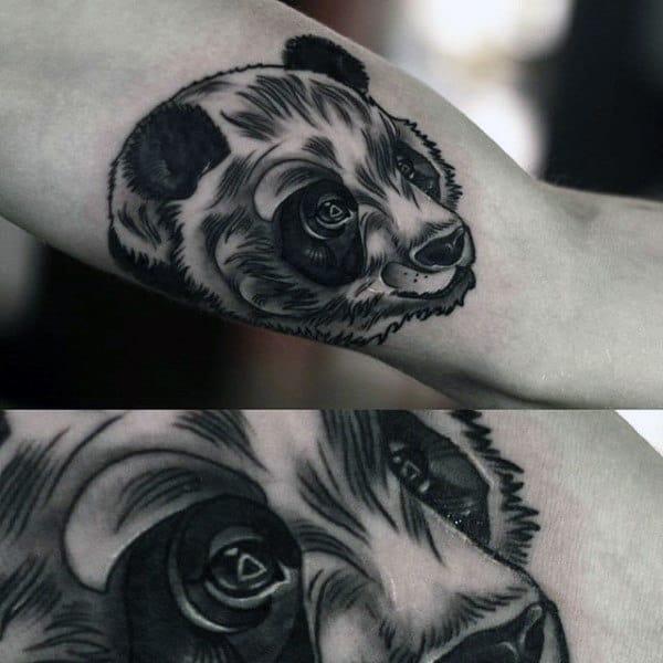 Detailed Male Panda Tattoo On Inner Arm Bicep