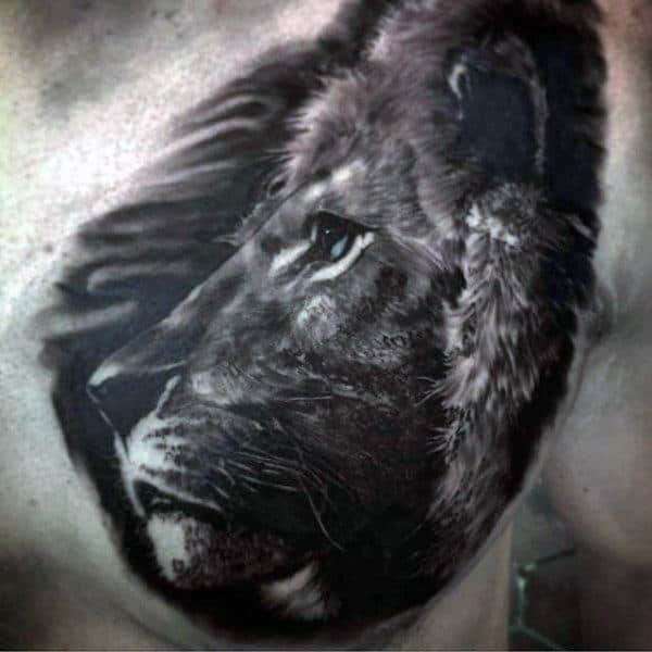 Detailed Male Realistic Lion Chest Tattoo