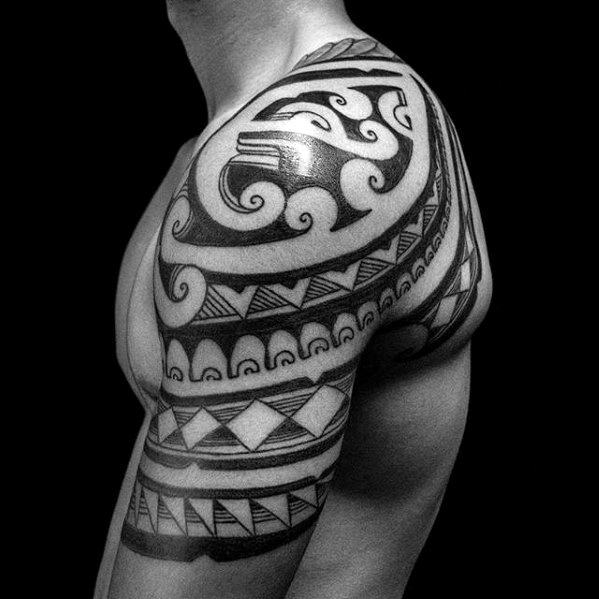 Detailed Male Sick Tribal Half Sleeve And Shoulder Tattoos