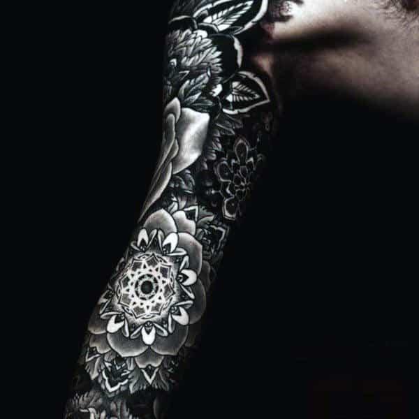 Detailed Men's Flower Tattoo