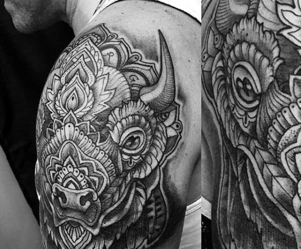 Detailed Mens Bison Half Sleeve Tattoos
