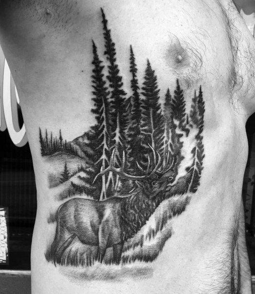 Detailed Mens Elk Tattoo Design Ideas