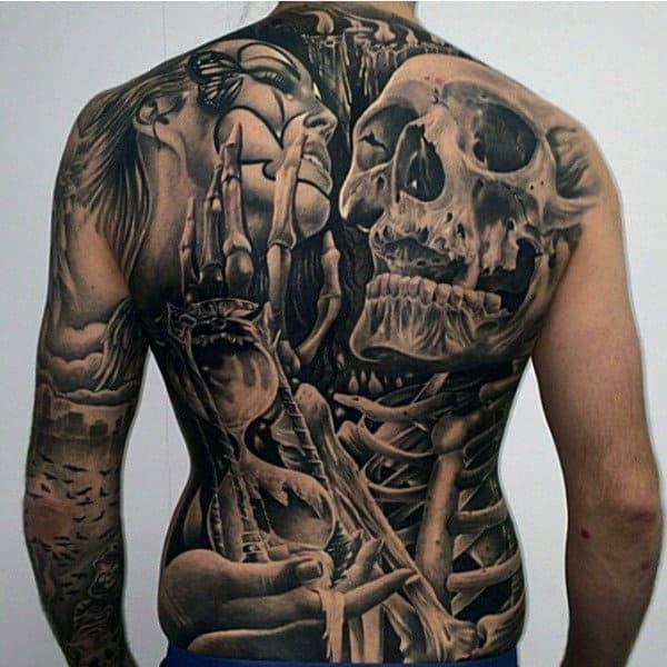 Detailed Mens Female Portrait With Skeleton Full Back Tattoo Design Ideas