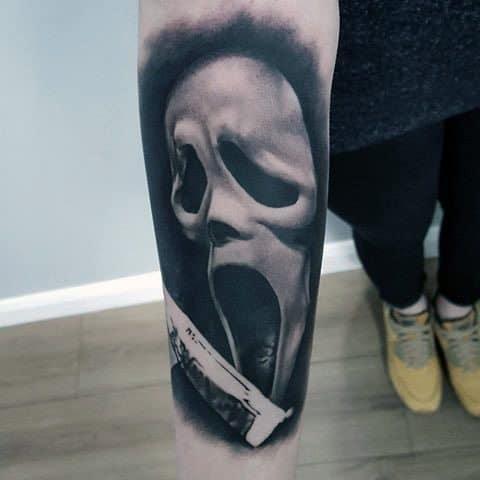 Detailed Mens Horror Movie Tattoo Design Ideas Scream Mask