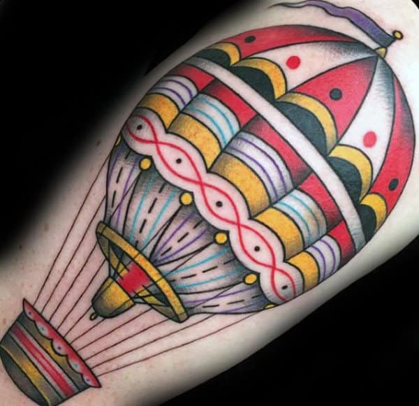 Detailed Mens Hot Air Balloon Traditional Tattoo On Bicep
