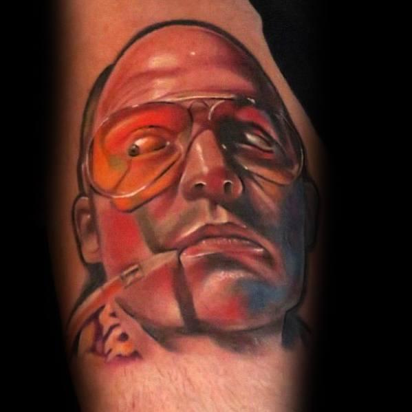Detailed Mens Hunter S Thompson Tattoo Design Ideas