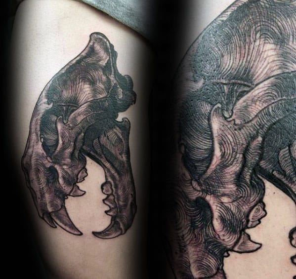 Detailed Mens Lion Skull Arm Tattoo Ideas