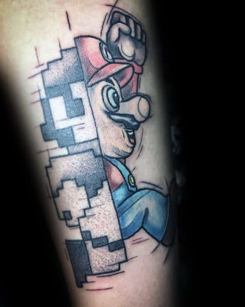 Detailed Mens Mario Tattoo Design Ideas