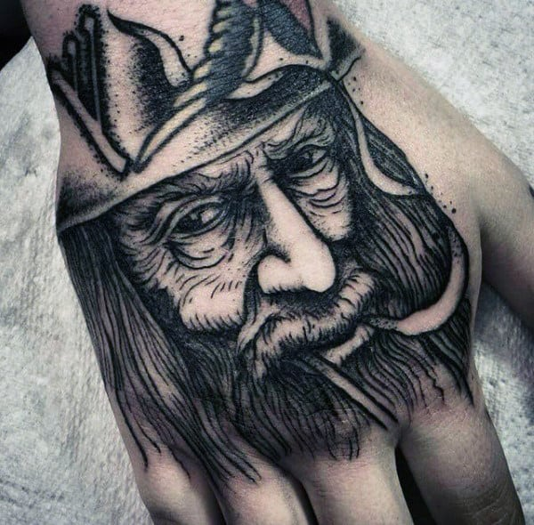 detailed mens old school lord of the rings gandalf hand tattoos