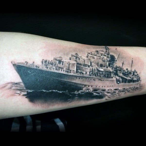 Detailed Mens Realistic Navy Ship Out At Sea Forearm Tattoos