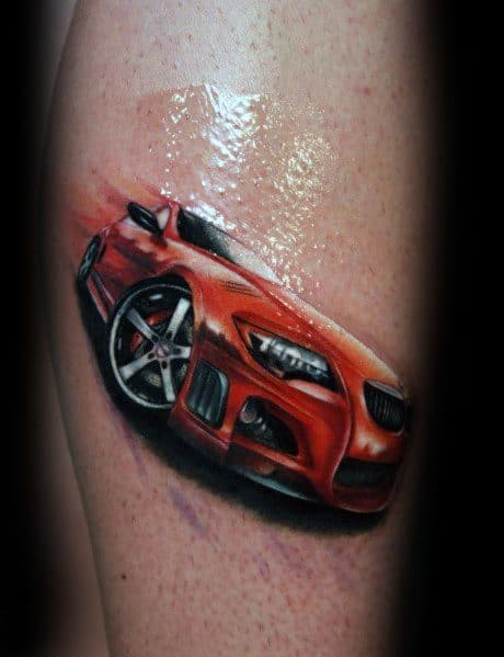 Detailed Mens Realistic Red Bmw Tattoo Design Ideas