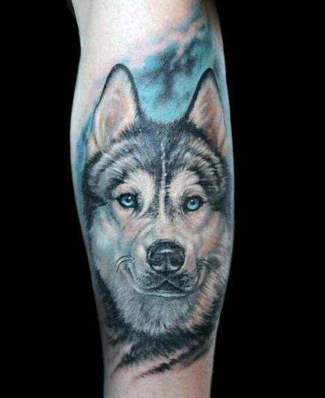 Detailed Mens Siberian Husky Tattoo Design Ideas