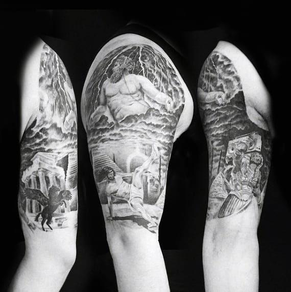 Detailed Mythology Tattoo On Upper Arms For Guys