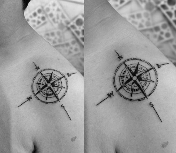 Detailed Nautical Star Guys Shoulder Tattoo Ideas