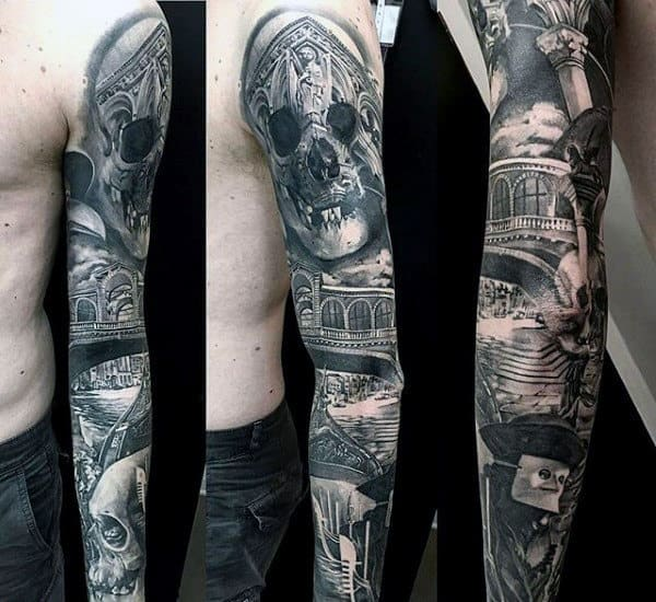 Detailed Original Mens Full Sleeve Tattoo Inspiration