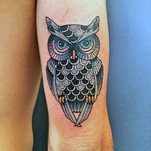 Detailed Owl Traditional Male Tricep Tattoo Designs