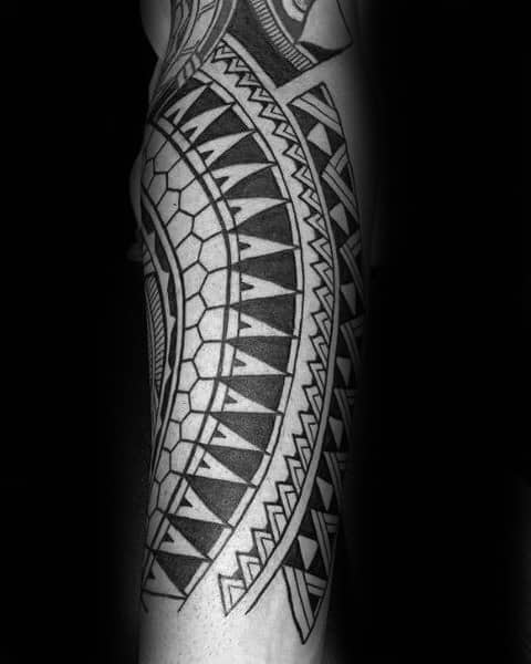 Detailed Pattern Polynesian Tribal Forearm Guys Tattoos