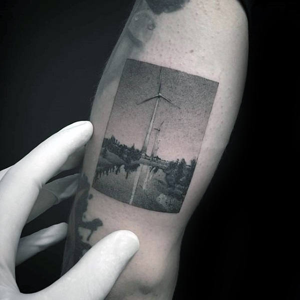 Detailed Photograph Awesome Small Mens Windmill Outer Arm Tattoo