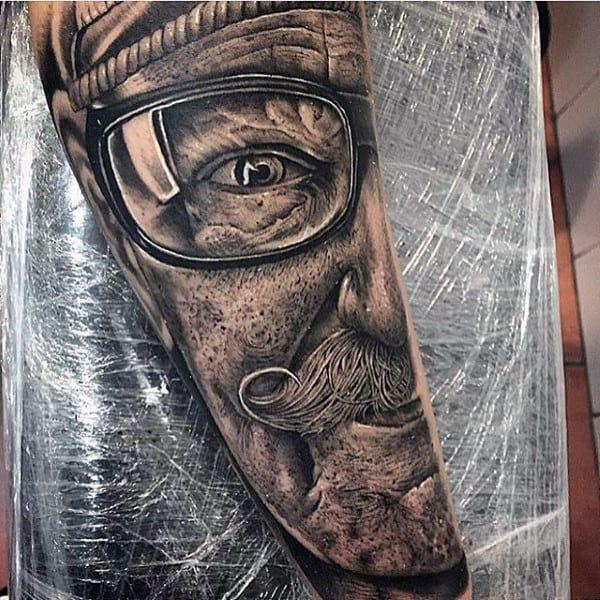 Detailed Portrait Modern Forearm Tattoos For Men