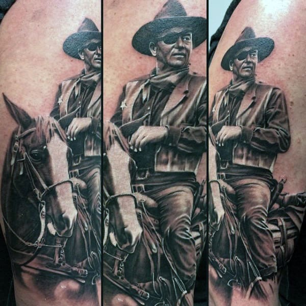 Detailed Realistic Black And White Man Riding Horse With Eyepatch Tattoo