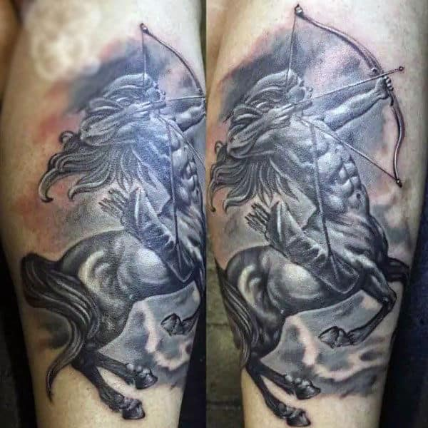 Detailed Realistic Sagittarius Guys Tattoo On Arm
