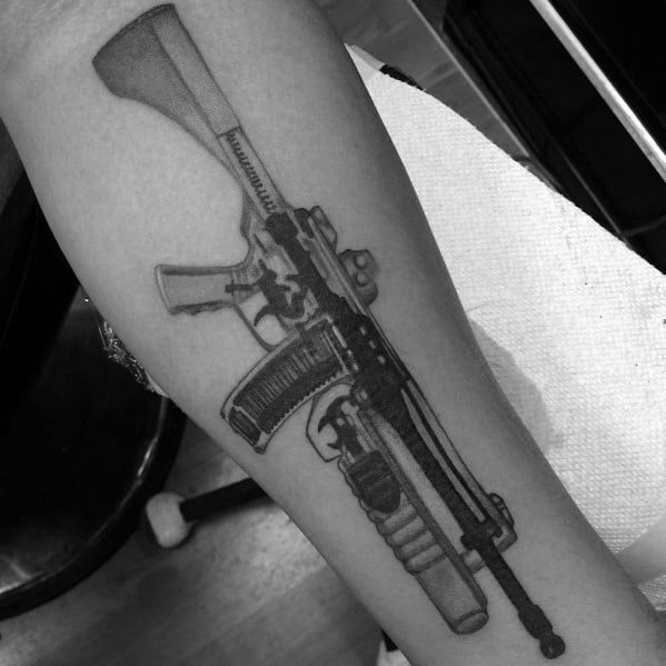 Detailed Rifle Ar 15 Tattoo Designs For Gentlemen