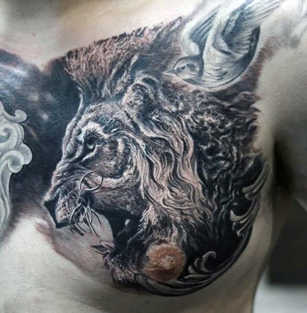 Detailed Roaring Lion Mens Upper Chest Tattoos