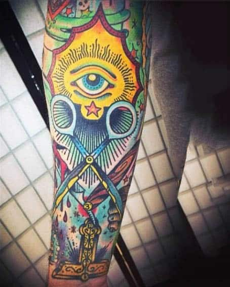 Detailed Scissors Mens Masonic Tattoo Sleeve With All Seeing Eye
