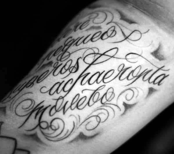 Detailed Script Inner Arm Latin Tattoos Men