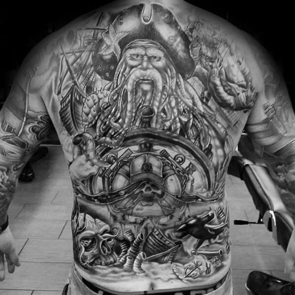 Detailed Shaded Full Back Davy Jones Male Tattoo Ideas