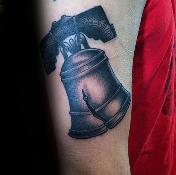 Detailed Shaded Liberty Bell Guys Upper Arm Tattoos