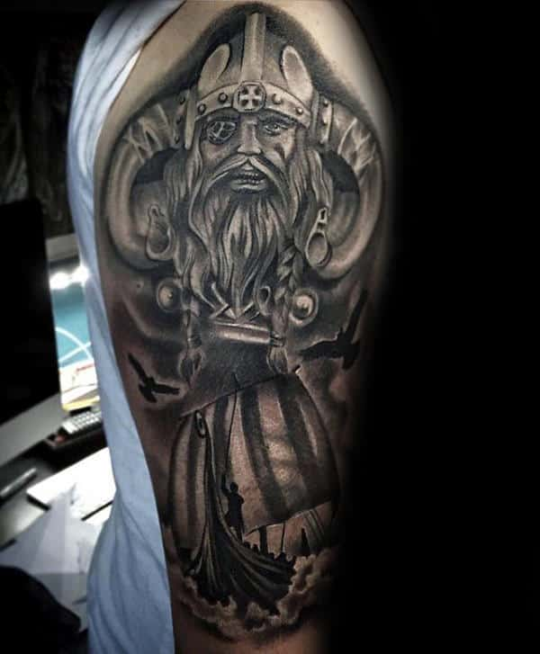 Detailed Ship With Odin Mens Half Sleeve Norse Tattoos