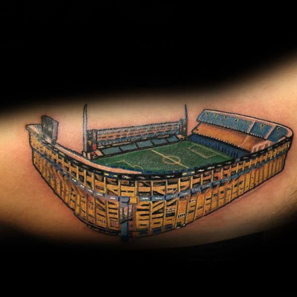 Detailed Soccer Field Stadium Tattoo For Guys On Inner Arm Bicep