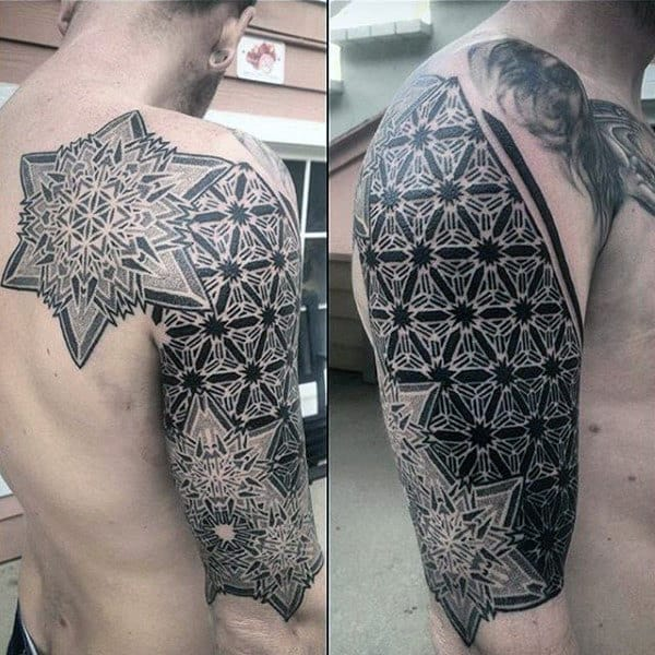 Detailed Star Shaped Pattern Tattoo Male Arms