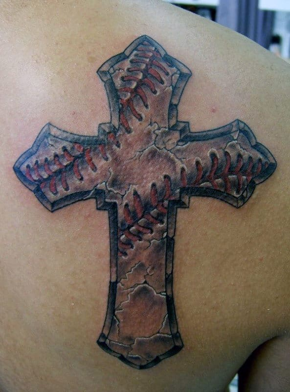 Detailed Stone Baseball Cross Male Shoulder Tattoos