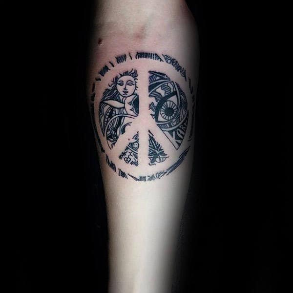 Detailed Sun And Moon Peace Sign Male Forearm Tattoo