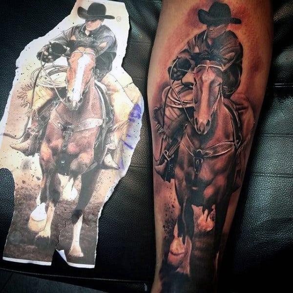 Detailed Tattoo Of Man Horseback Riding For Guys
