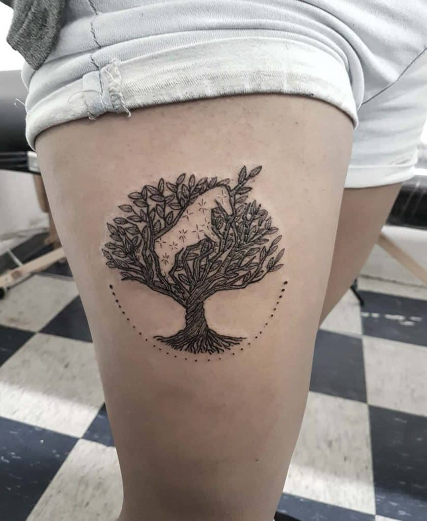 Detailed Tree Of Life With Framing Dotwork Circle In Tree Negative Space Unicorn Tattoo