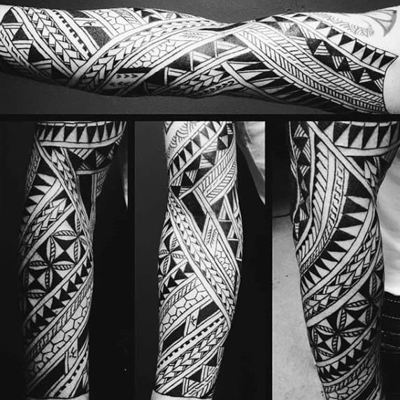 Detailed Tribal Sleeve Tattoo Designs For Men