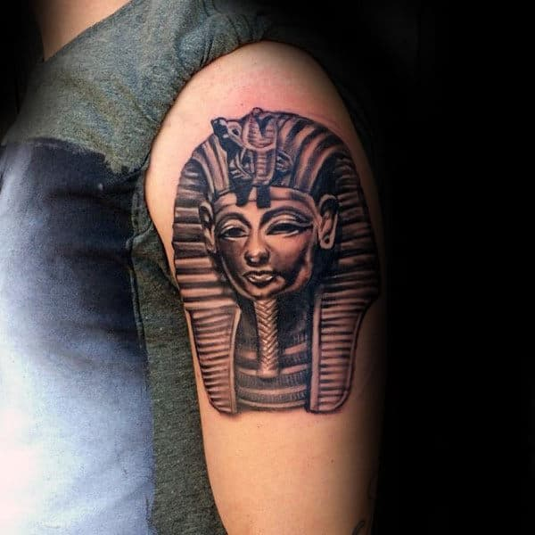 Detailed Upper Arm King Tut Male Tattoo Ideas