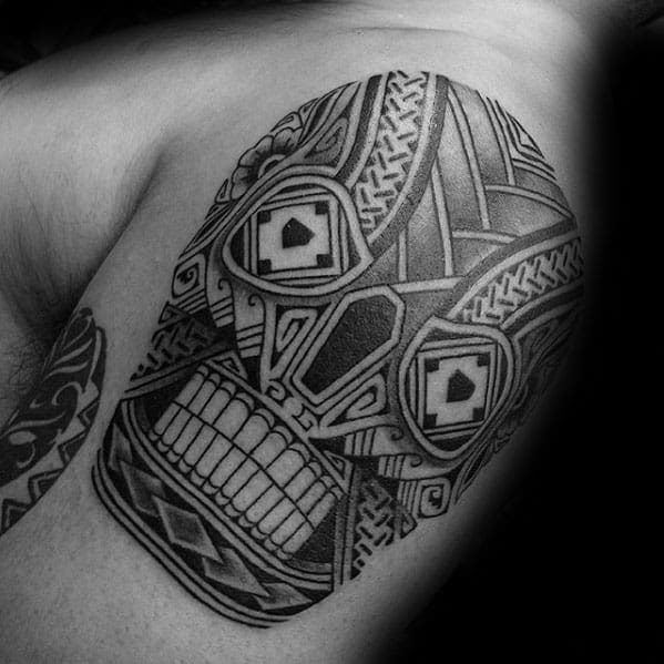 Detailed Upper Arm Tribal Skull Male Tattoo Ideas