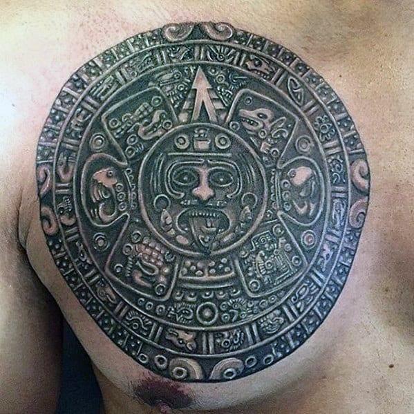 Detailed Upper Chest Male Mayan Calender Tattoo Ideas