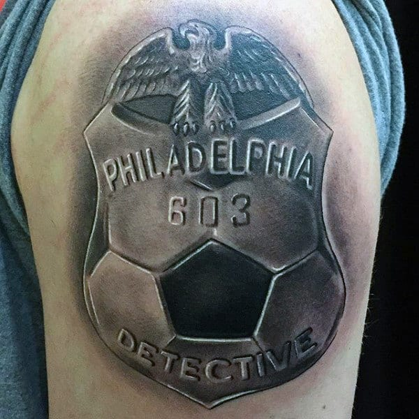 Detective Badge With Soccerball Design Mens Upper Arm Tattoos